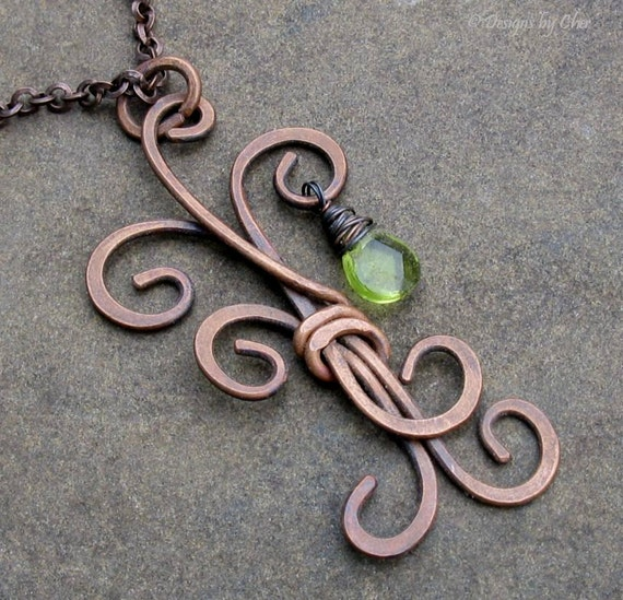 Metalwork Freeform Tree Pendant, Antique Copper Wire Wrapped Glass Drop, Adjustable Necklace... The Last Leaf