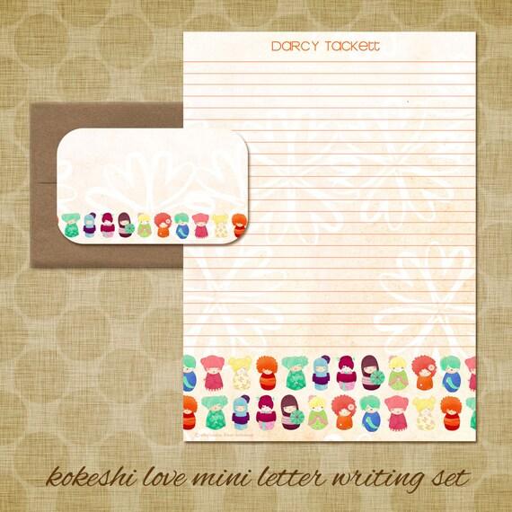 Personalized Stationery - Kokeshi Love Mini Letter Writing Set - Cute Kids Stationery Set - Kokeshi dolls japanese gift doll cute whimsical