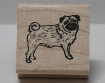Pug Pose rubber stamp