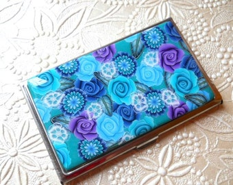 Business Card Case/Holder, Roses and Flowers with Resin