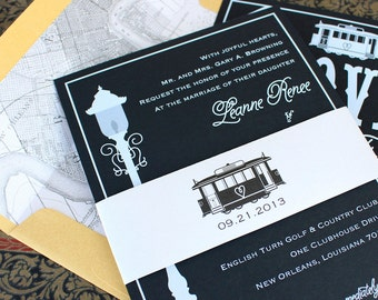 Modern Streetcar Wedding Invitation (White Ink)   New Orleans   Design Fee