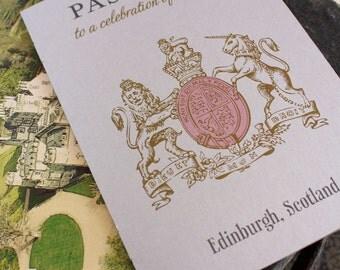 Scotland Crest Passport Wedding Invitation (Edinburgh, Scotland) - Design Fee