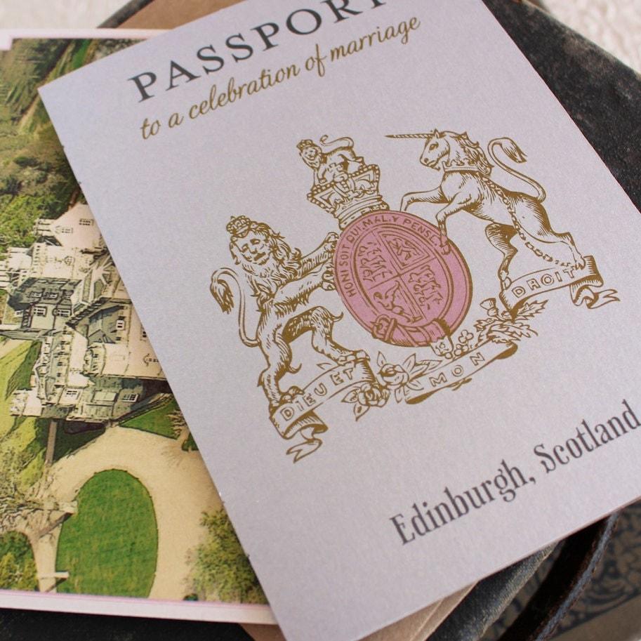Wedding Invites Scotland: Scotland Crest Passport Wedding Invitation Edinburgh