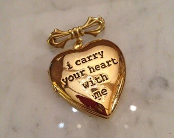 Wedding Bouquet Charm Bridal Bouquet Charm Locket. i carry your heart with me. Cremation Locket. Memorial Locket
