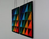 Illusion Knit Wall-hangings/Cushions - PDF pattern - Shadow Triangles
