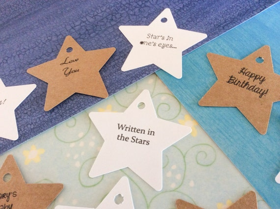 Large personalized Star tags, birthday tags, favor tags, wedding favors, product labels, 2 1/4 inch set of 50