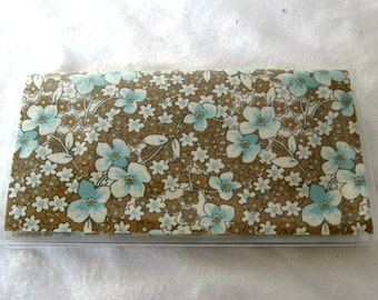 Checkbook Cover Floral Brown Teal Cash Holder Works with Duplicate Checks