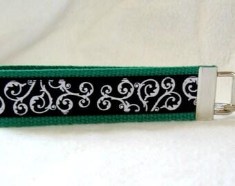Scrolls Key Fob GREEN Black Swirls Key Chain