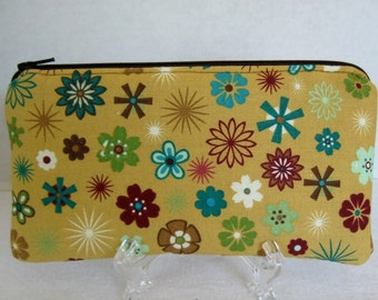 Mustard Floral Zip Pouch - Padded Floral Zippered Pouch - Cash Holder - Small Floral Make Up Bag