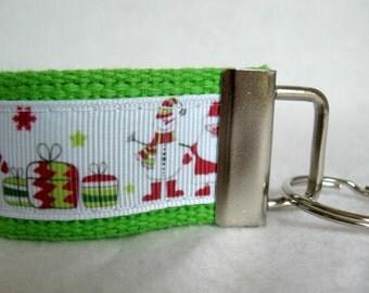 Santa Mini Key Fob Primitive Snowman Small Key Chain Christmas Keychain Lime