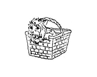 Cairn Terrier cute dog in basket rubber stamp