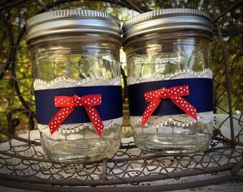 Nautical mason jars, Decorated mason jar, pinup themed wedding, navy decor, candleholders