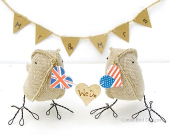 Burlap Wedding Cake Topper Flags and We Do hearts