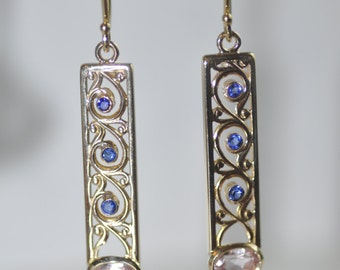 Yellow Gold Vintage Blue Topaz Scroll Earrings with Bezel Set Morganite Ovals