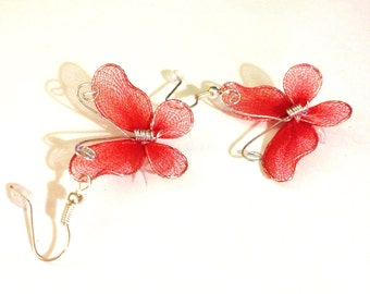 Dark Red Butterfly Earrings      A Very Pretty Dark Red Nylon  Spring and Summer Earrings