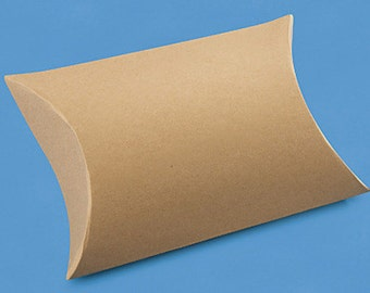 """25 Kraft Brown Pillow Boxes 4 1⁄2 x 4 1⁄2 x 1 1⁄2""""  Recycled"""