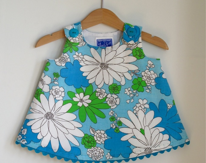Turquoise Daisy Retro Floral Girls Dress, Newborn Dress, Toddler Dress, Girls Dresses, Baby Dress, Retro Daisy Dress, Size Newborn to 4T