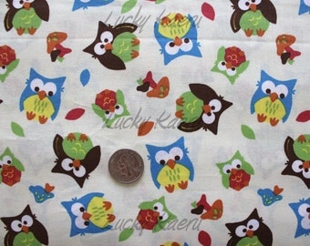 Springs Creative, Bright Owls Cream Fabric - Half Yard