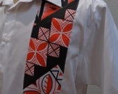 SALE Men's Shirt With Polynesian Block Print Fabric Detail CUSTOM SIZES available