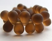 Czech Glass Teardrop Beads 8x6mm Glass Beads (20pk) Matte Smoky Topaz SI-8x6D-MST