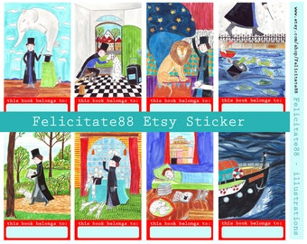 instant digital download - this book belongs to - Sticker- pdf - illustration