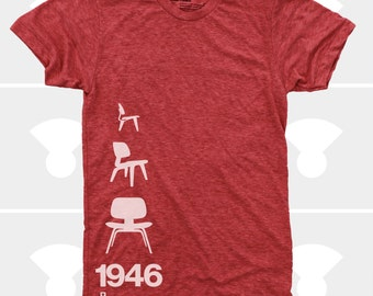 Men's TShirt Eames Plywood Chair 1946, Mid Century Modern, Eames Lounge Chair Shirt, S,M,L,Xl,Xxl, Design, Red (4 Colors) T-Shirt for Men