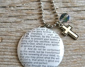 SALE - Romans 12: 1,2 - Do not conform to this world - Altered Vintage Glass Watch Crystal Pendant Necklace - Recycled Upcycled