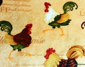 """One Fat Quarter Cut Quilt Fabric, Colorful Roosters on Yellow, """"Morning Call by Gail Green for Henry Glass, Sewing-Quilting-Craft Supplies"""