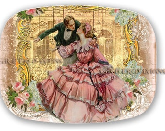 Romantic Couple at Versaille Ball Dance Pink Roses Melamine Serving Platter Tray