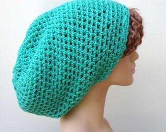 Jade green Tam Hat Dreadlock Hippie slouchy beanie baggy dreads baggy vegan, slouchy hat