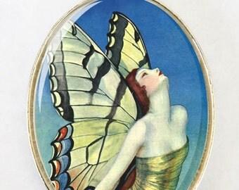 Art Deco Butterfly Women LARGE 40X30mm Glass domed pendant