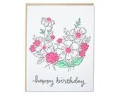 Birthday Floral Letterpress card