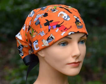 Scrub Hats // Scrub Caps // Scrub Hats for Women // The Hat Cottage // Halloween // Small // Ribbon Ties // Spooky Puppies