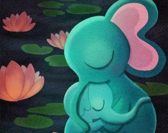 "Baby Elephant Nursery Wall Art, Elephant Print, Safari Nursery - ""Tenderness"""