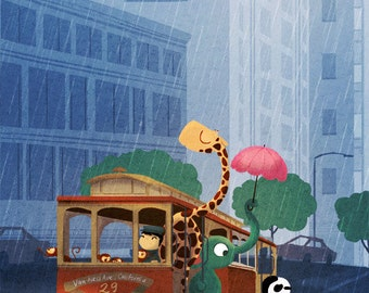 """Cable Car Card, San Francisco Art, Animals, blank greeting card - """"Here Comes The Rain"""""""