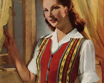 1940s Waistcoat Jerkin Vintage Knitting pattern Pdf Make do and Mend Stashbuster