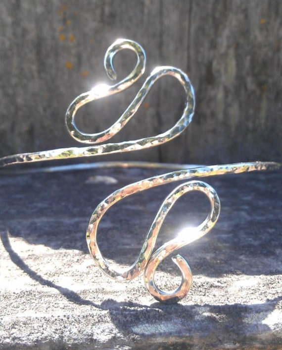 Hammered Silver Arm Band - Egyptian Upper Arm Cuff , Armlet -  comes in copper or brass too