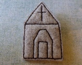 Felt Brooch Church Series no.2, Wool Felt, machine sewn, wool applique, Beige, light brown, Building, FB0012