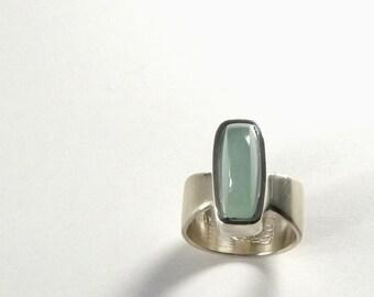 Aquamarine Ring, Blue Green Natural Stone, Wide Silver Band, Beryl Gemstone Jewelry, One of a Kind