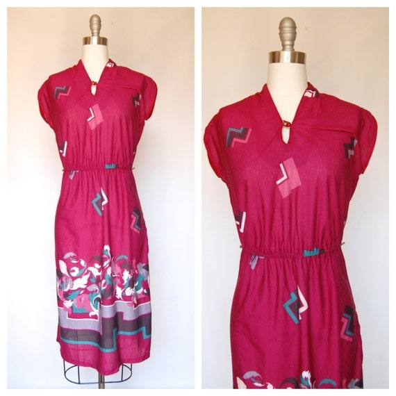 SALE// 80s graphic floral asian style dress (s-m)