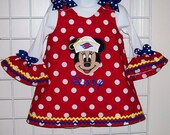 Sailor Cruise Minnie Mouse Applique Monogram Red Dot A-line Dress + Ruffle Sleeve T-shirt Cruise Vacation