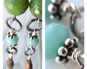 Long Thai Seed Earrings Blue Amazonite Green Nephrite Jade