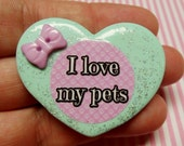 I Love My Pets -  Polymer Clay Glitter Heart Brooch or Necklace