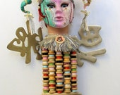 Just Off Exhibit I AM HORNY recycled Found object sculpture