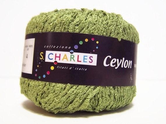 Destash SALE  Silk Boucle Yarn  Bamboo Green 100%  Silk Ribbon Yarn Ceylon Tahki Stacy Charles 3 spools