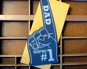 letterpress dad you're #1 foam finger die-cut flat note navy blue with silver ink thank you card