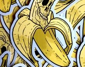 Banana Skull Cartoon Waterproof Die Cut Halloween Day Of The Dead Vinyl Sticker - Etsy