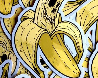 Banana Skull Cartoon Waterproof Die Cut Halloween Day Of The Dead Vinyl Sticker - Etsy