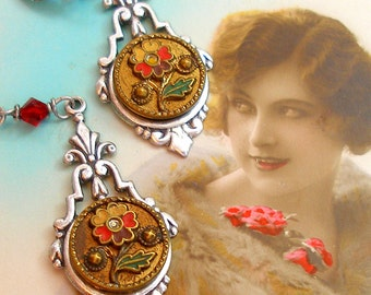 Antique BUTTON earrings, Victorian flowers on silver. Antique button jewelry, jewellery.