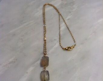 Blue grey ombré necklace